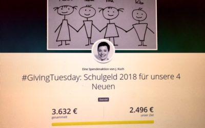 GivingTuesday 2017: Grandiose 3.632€ haben wir mit Euch gesammelt :)